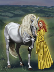 Rhiannon standing by Her white horse